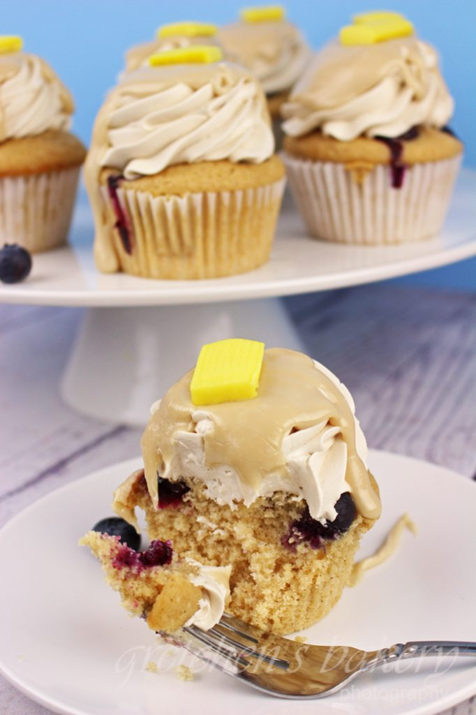 Blueberry Pancake Cupcakes with Maple Cream Glaze