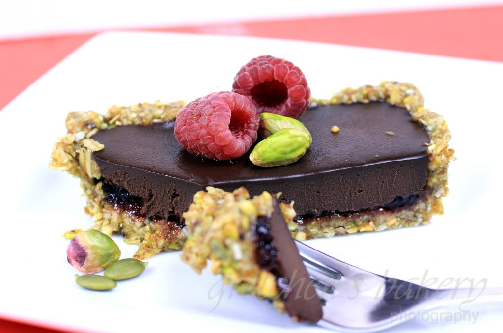 No Bake Chocolate Raspberry Ganache Tart