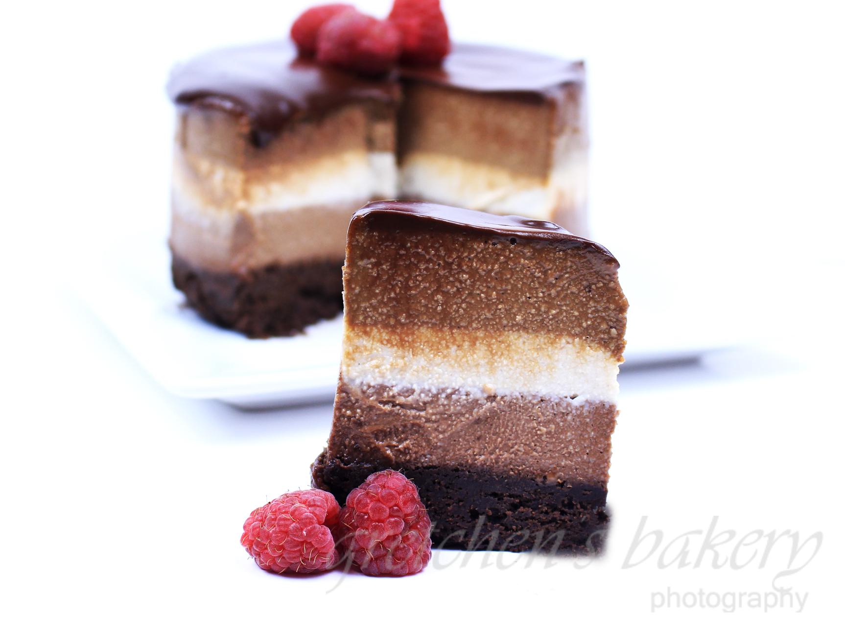 No Bake Vegan Tri Layer Cheesecake