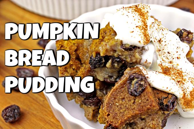 Pumpkin Bread Pudding~Vegan