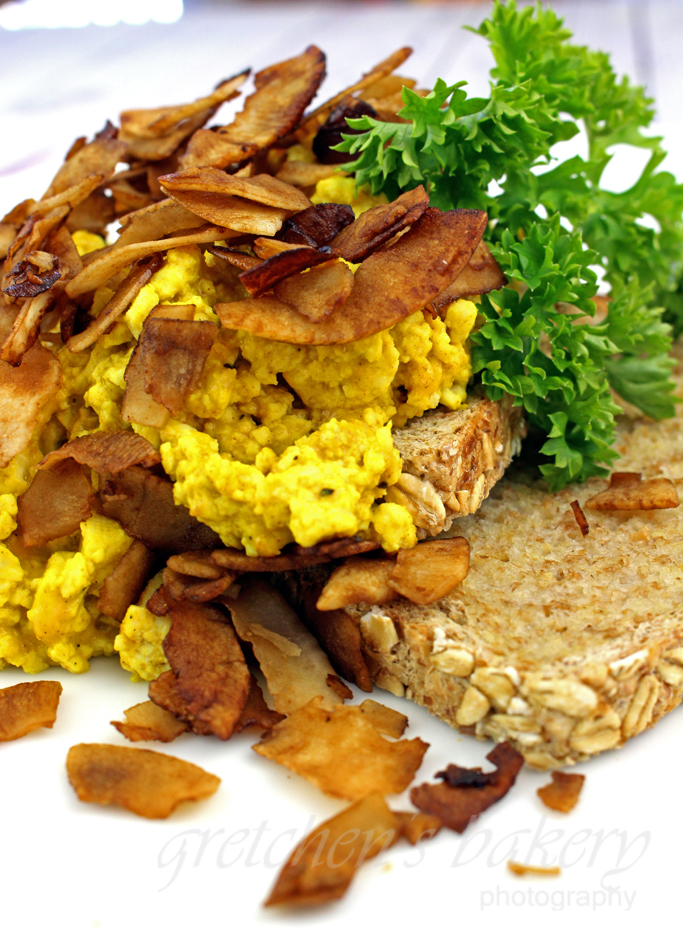 Cheesy Tofu Scramble with Crispy Smoky Bacon