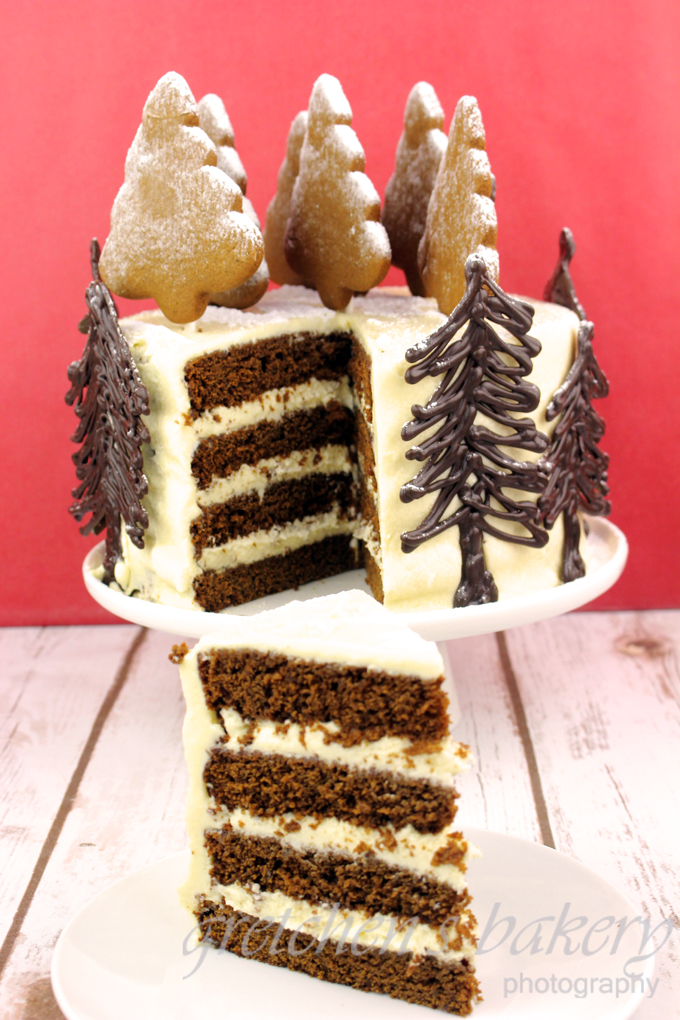 Vegan Gingerbread Cake with cream cheese icing