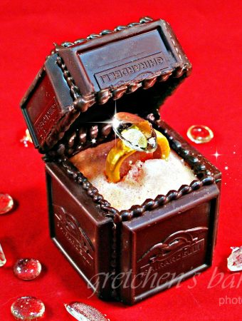 Chocolate Engagement Ring Box cake topper