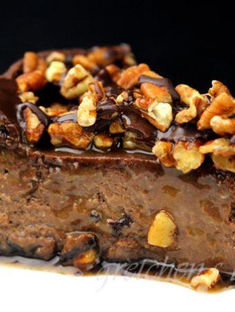 Vegan Chocolate Turtle Cheesecake