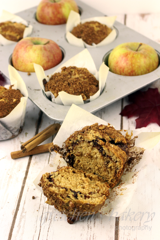 Cinnamon Apple Walnut Muffins