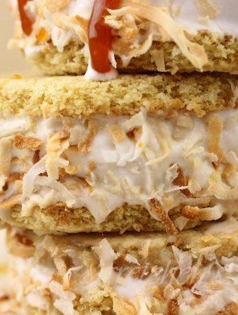 Toasted Coconut Carame Ice Cream Sandwiches