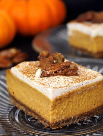 Vegan Pumpkin Pie Cheesecake Bars