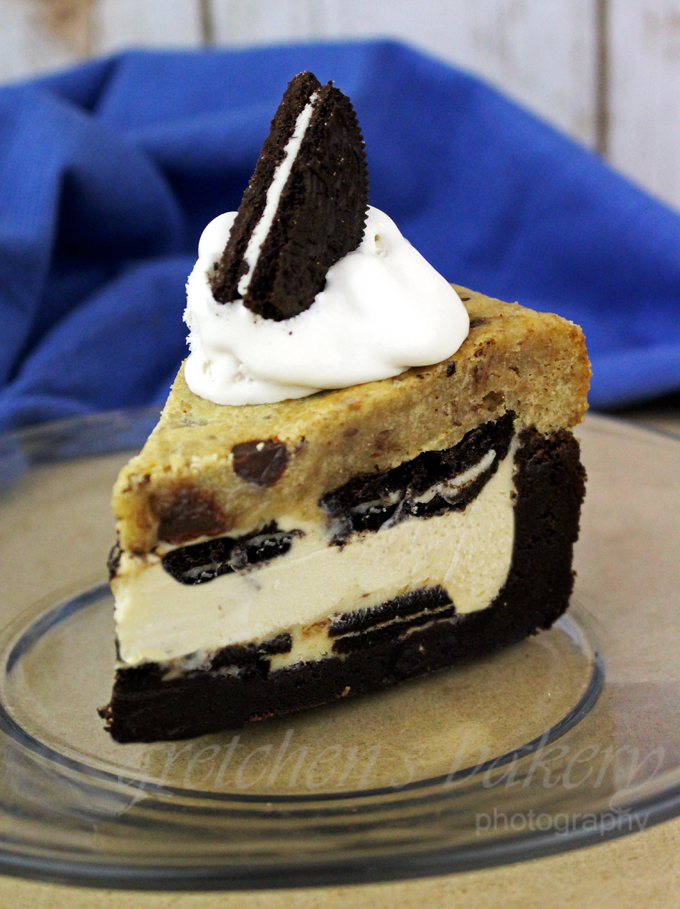 Veganized Version of the 5 Layer Brownie Cookie Cheesecake