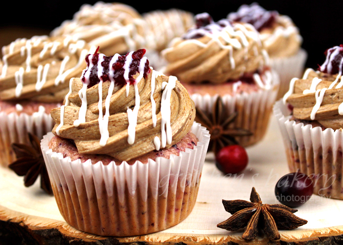 Cranberry Cupcakes with Mocha Buttercream