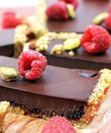 No Bake Chocolate Raspberry Ganache Tart