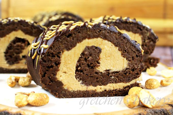 Chocolate Peanut Butter Swiss Roll
