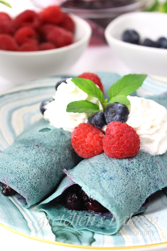 Vegan Crepe Cake ~ Blue Butterfly P
