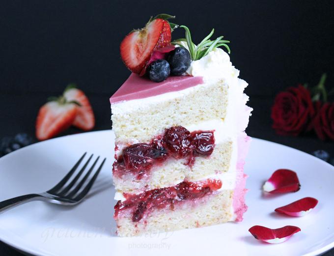 Strawberry Vanilla Ruffle Cake