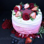 Strawberry Vanilla Ruffle Cake
