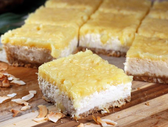 Piña Colada Cheesecake Bars
