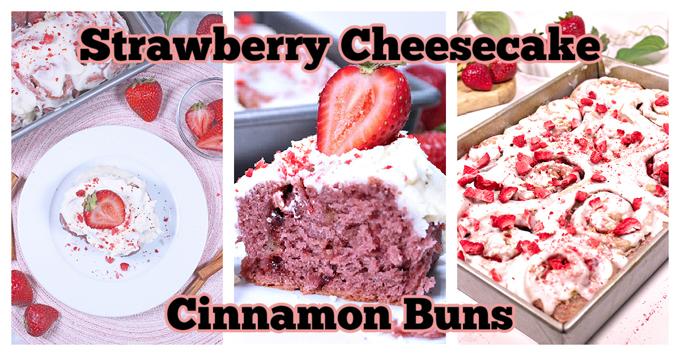 Strawberry Cheesecake Cinnamon Buns