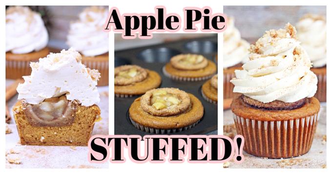 Apple Pie Stuffed Pumpkin Cupcake
